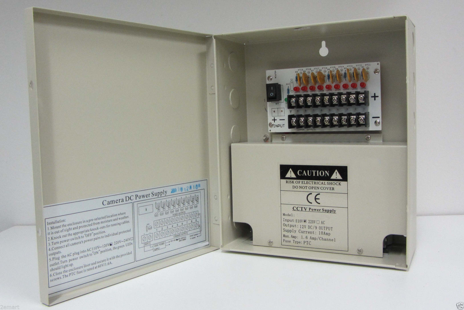9 Ch 10A Amps PT CCTV security Camera Power Supply box