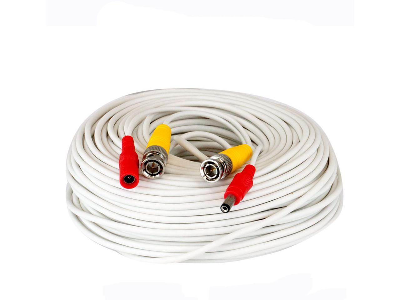 All in one 100ft HEAVY DUTY PREMADE SIAMESE CABLE White color