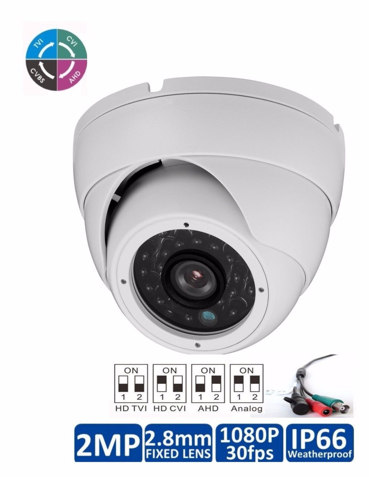 "2 MP HD TVI/CVI/AHD 1080P Dome Camera 1 / 2.7"" CMOS Sensor 2.8mm"