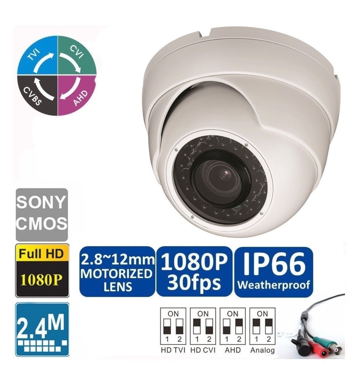 HD CVI 1080P Dome Camera 2.4MP Motorized Zoom Auto 2.8-12mm