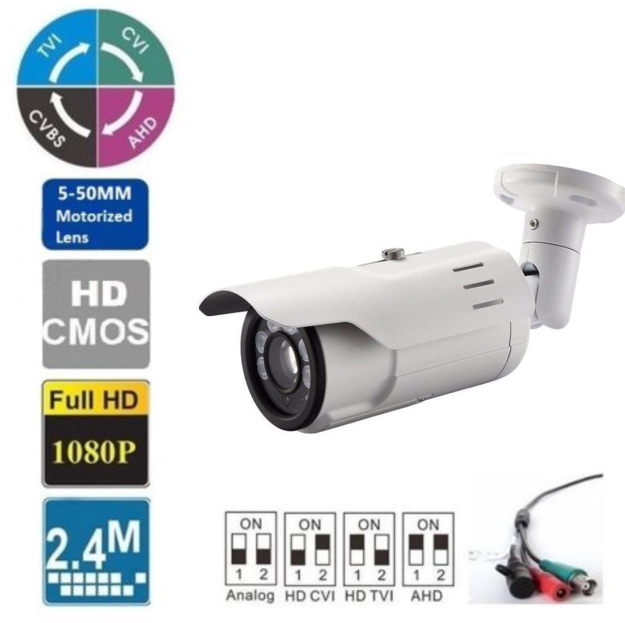 Long Range HDTVI 1080P IR Night Vision Bullet Outdoor Camera