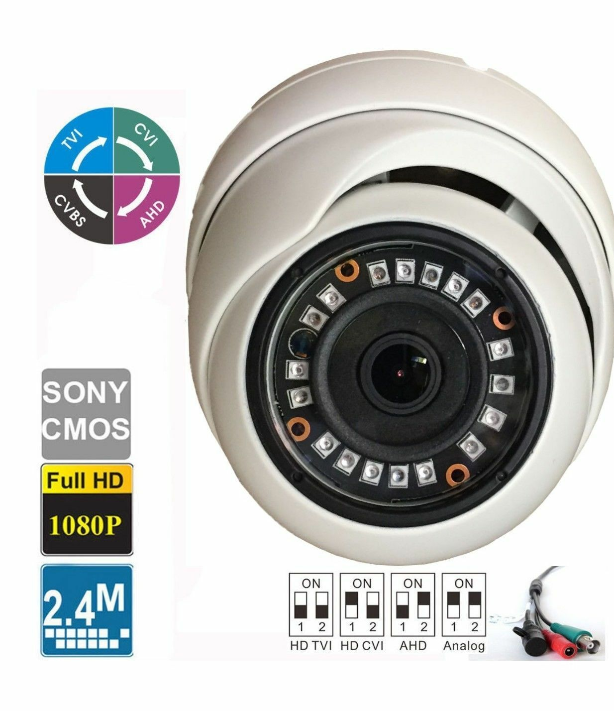 HD-CVI 2.4MP 1080P HD-TVI HD-AHD Analog Dome Camera Sony CMOS