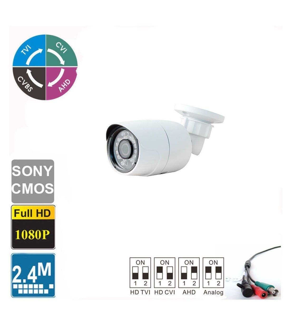 HD TVI 1080P Bullet Camera 2MP 1/3 CMOS Sensor, 24IRs Outdoor IP