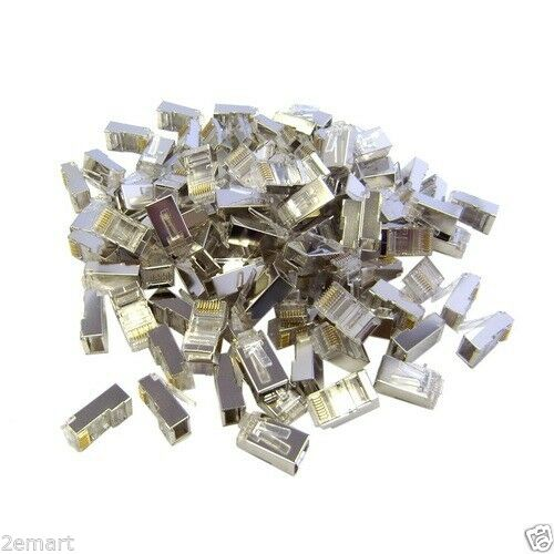 100X CAT6 Shielded Crimp Connector for Solid and Stranded Cable