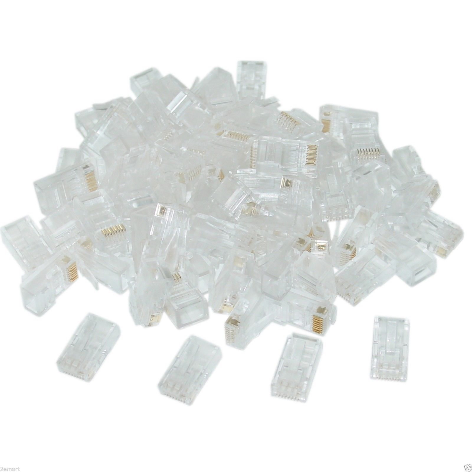 100X Cat5 RJ45 Crimp Connectors for Solid & Stranded Cat5 Cable