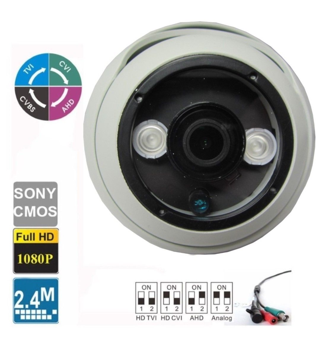 HD-CVI 2.4MP 1080P HD-TVI HD-AHD Analog Dome Camera CMOS 4 IN 1