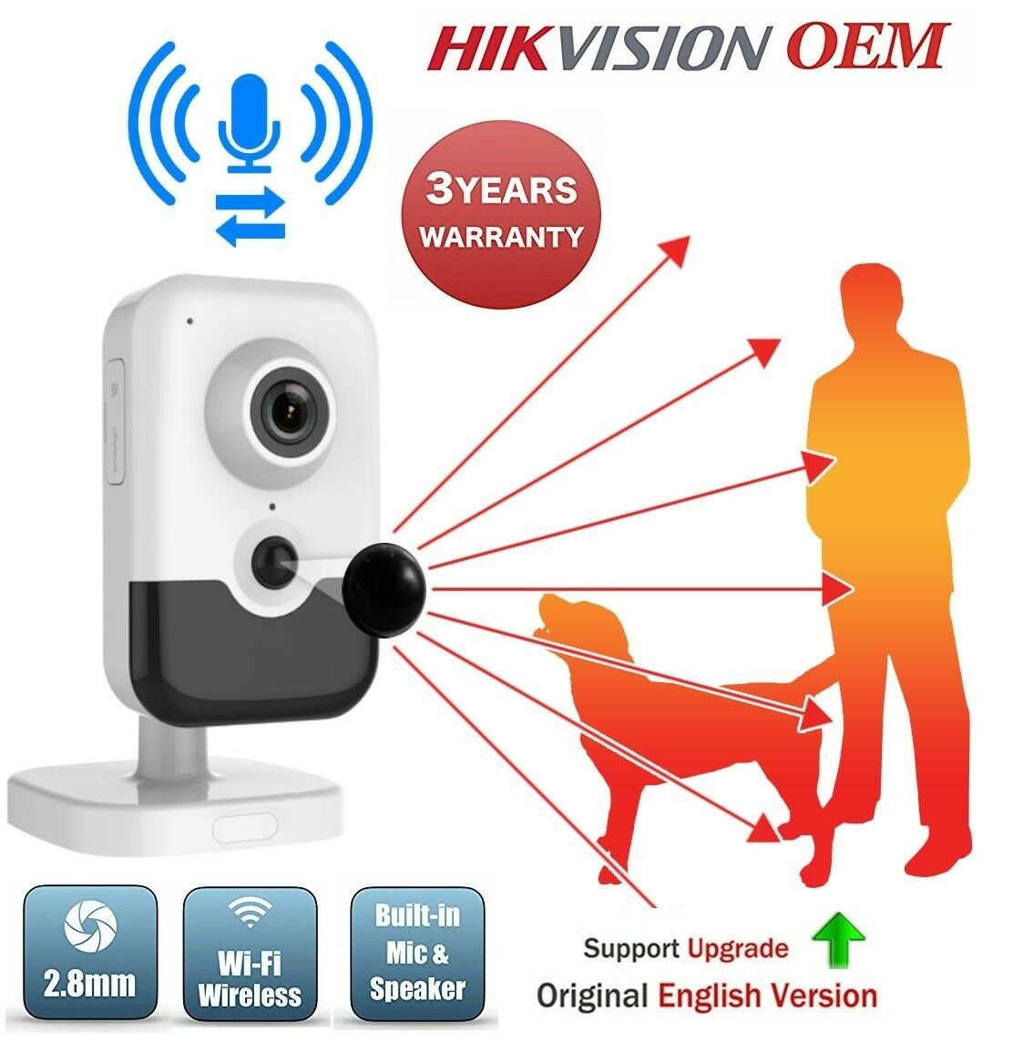 Hikvision OEM 6MP WiFi Network Cube Security Home Camera audio